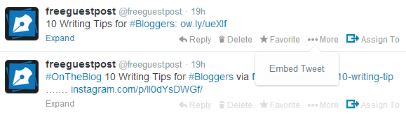 How to embed a tweet from Twitter onto your blog