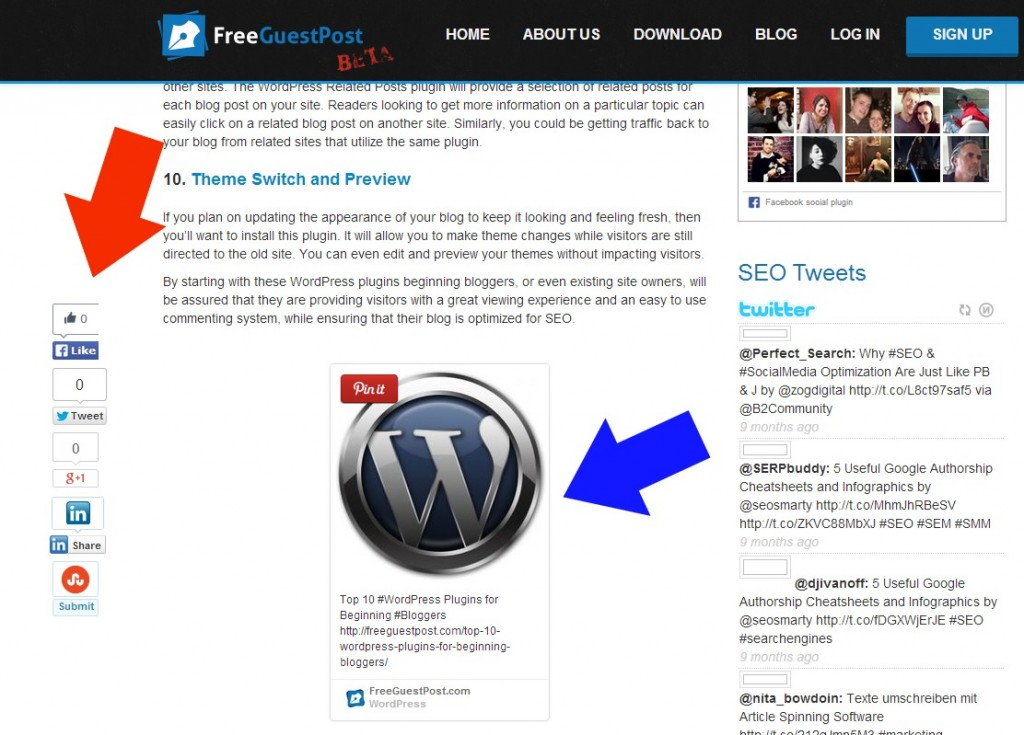 Social media buttons versus embedded Pintrest pin on a blog